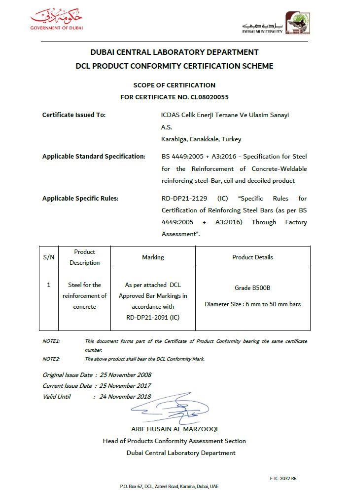 İÇDAŞ, Dubai Product Certificates